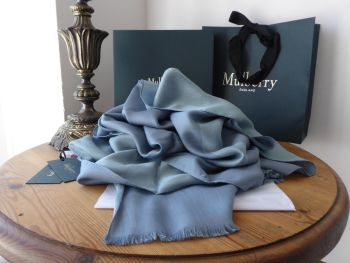 Mulberry Signature Letters Logo Jacquard Rectangular Scarf in Dark Frozen Silk Mix - New