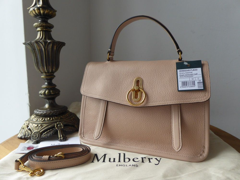 Mulberry Gracy Satchel in Rosewater Textured Goat & Smooth Calf - New*