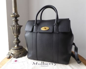 Mulberry Bayswater Backpack in Black Small Classic Grain with Brass Hardware