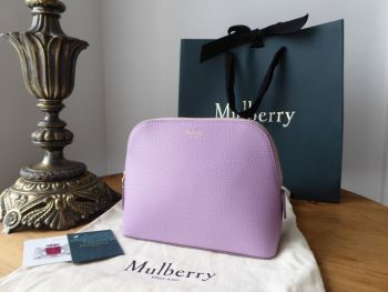 Mulberry Continental Cosmetic Pouch Bag in Lilac Cross Grain Leather - New