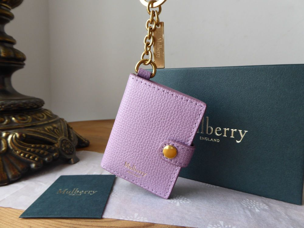 Mulberry Portrait Keyring in Lilac Cross Grain Leather - New