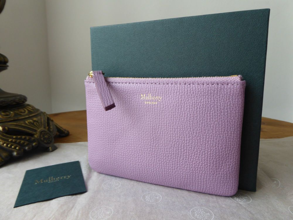Mulberry Small Zipped Pouch Card Case Coin Purse in Lilac Cross Grain Leath