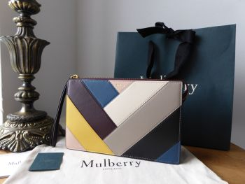 Mulberry Part Zip Wristlet Pouch in Chevron Multicolour Smooth Calf - New