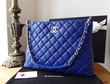 Chanel Easy Medium Tote in Cobalt Blue Caviar with Shiny Silver Hardware - SOLD