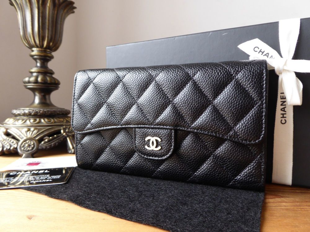 Chanel Classic Continental Flap Purse Long Wallet in Black Caviar with Shin