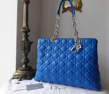 Dior Soft Tote in Electric Blue Lambskin Cannage with Shiny Silver Hardware - SOLD