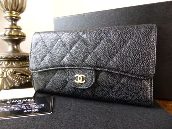 Chanel Classic Continental Flap Purse Long Wallet in Black Caviar with Shiny Gold Hardware - SOLD