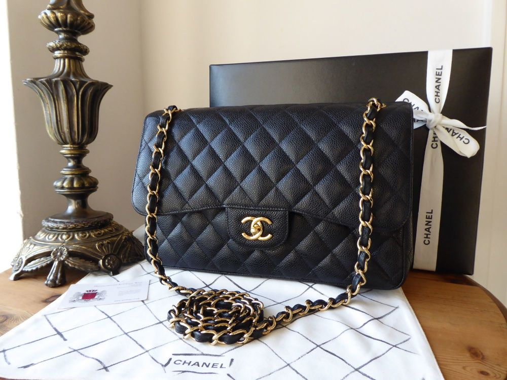 Chanel Classic Timeless 2.55 Double Jumbo Flap in Black Caviar with Gold Ha