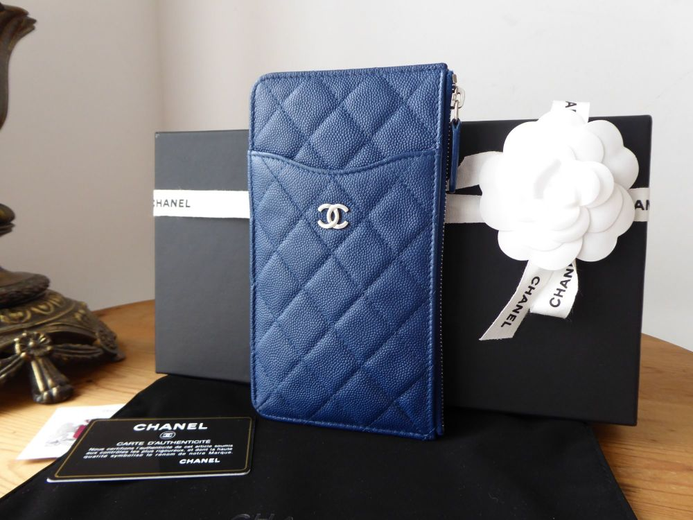 Chanel Classic Zip Pouch in Navy Blue Caviar with Silver Hardware
