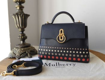 Mulberry Mini Seaton Perforated Dots in Midnight Small Classic Grain and Smooth Calf - New *
