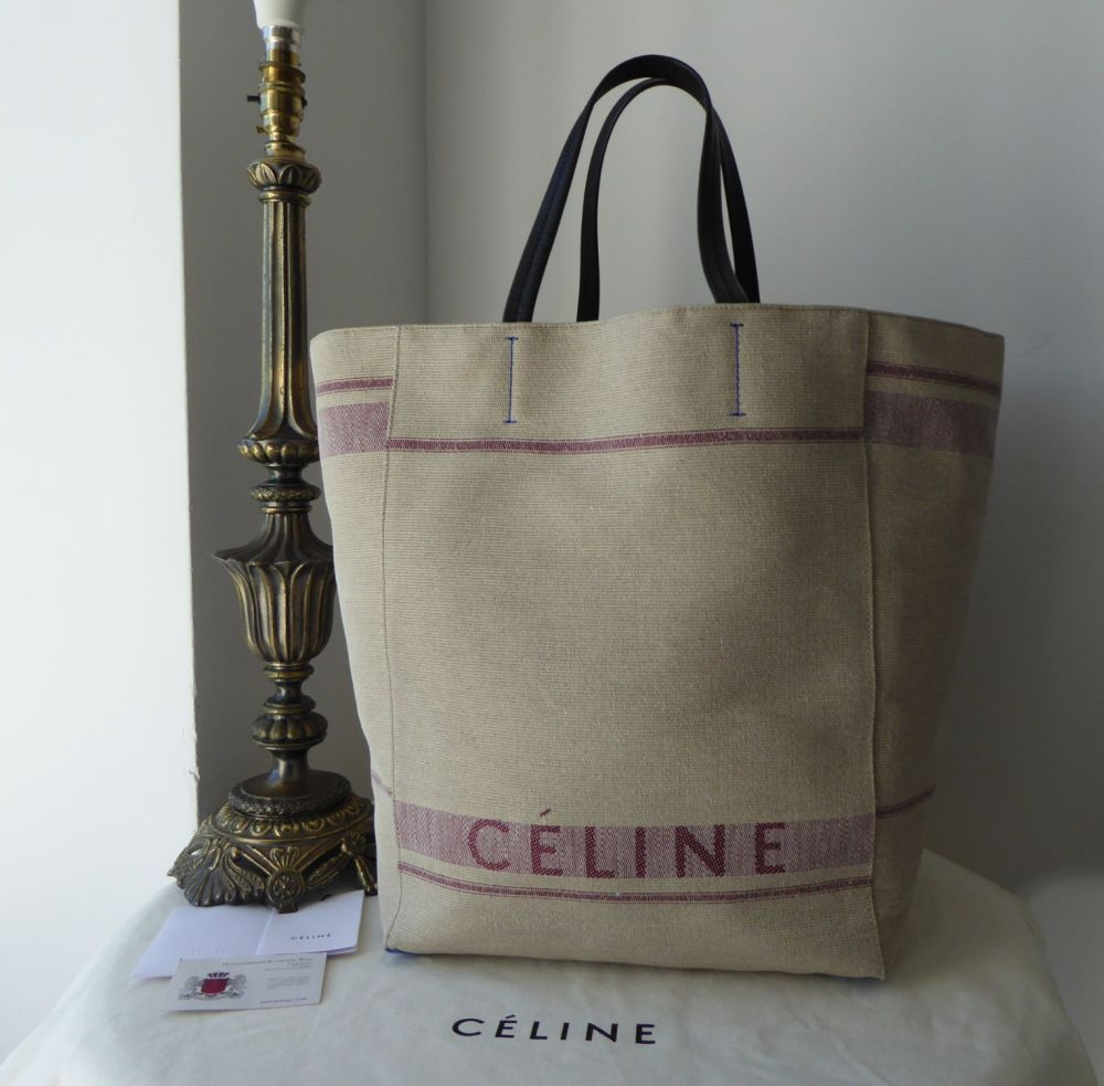 Céline Large Cabas Phantom Tote in Natural Linen Canvas