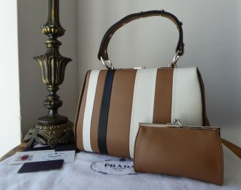 Prada Striped Baiadera Framed Bag and Purse in Nero, Caramel & Bianco Smooth Calfskin - SOLD