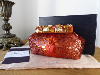 Prada Jewelled Paillettes Arancio Sequinned Evening Clutch