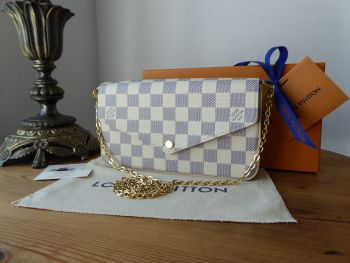 Louis Vuitton Félicie in Damier Azur with Rose Ballerine Lining - SOLD