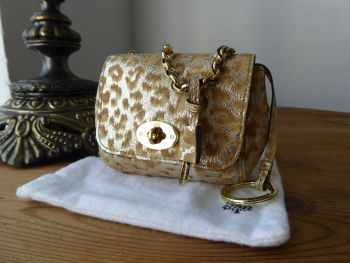 Mulberry Shrunken Lily Oversized Bag Charm in Reverse Gold Glitter Leopard Print - SOLD