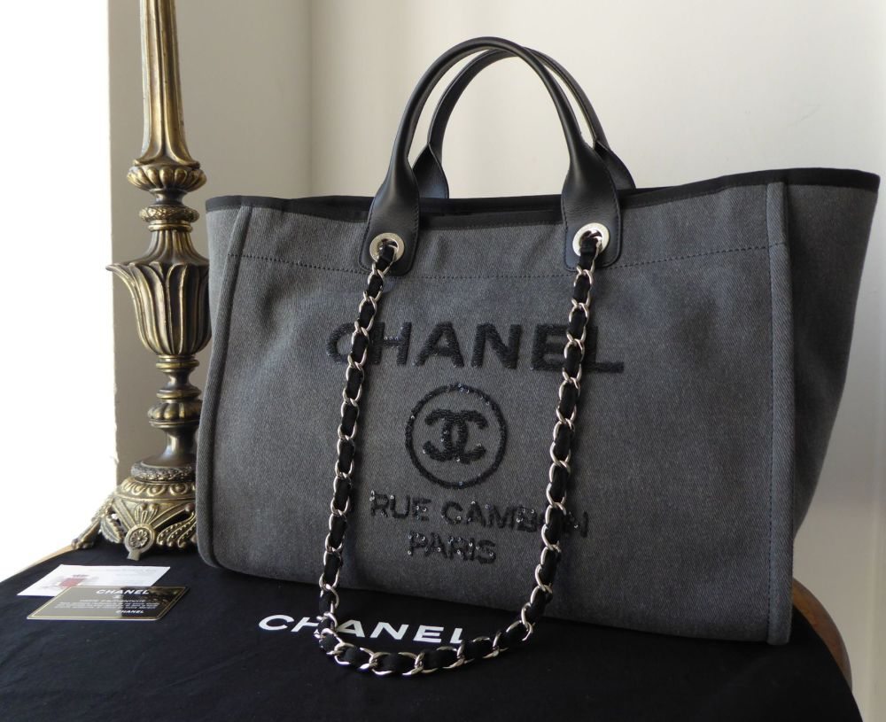 Chanel Deauville Canvas Large Tote in Charcoal with Gunmetal Sequins