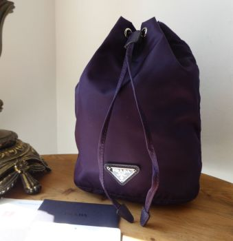 Prada Drawstring Cosmetic Pouch in Purple Vela Tessuto - SOLD