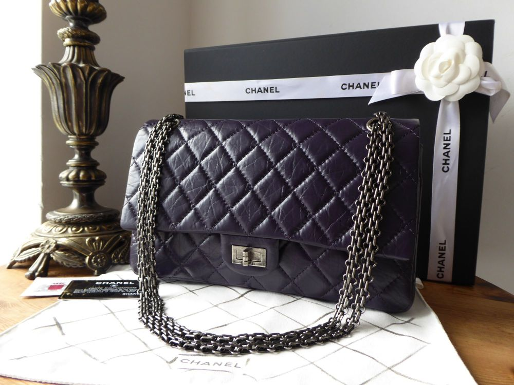 Chanel 226 Reissue Mademoiselle Flap in Distressed Purple Calfskin with Ant