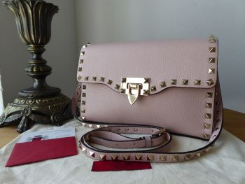 Valentino Rockstud Small Shoulder Clutch in Rose Pink Grained Leather