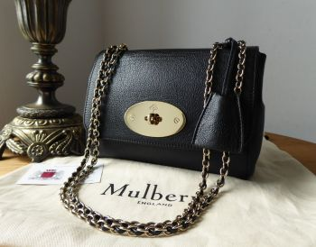 Mulberry Lily Regular in Black Glossy Goat with Shiny Gold Hardware - SOLD