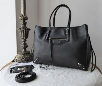 Balenciaga Papier B4 Zip Around Tote in Black Calfskin with Shiny Silver Hardware