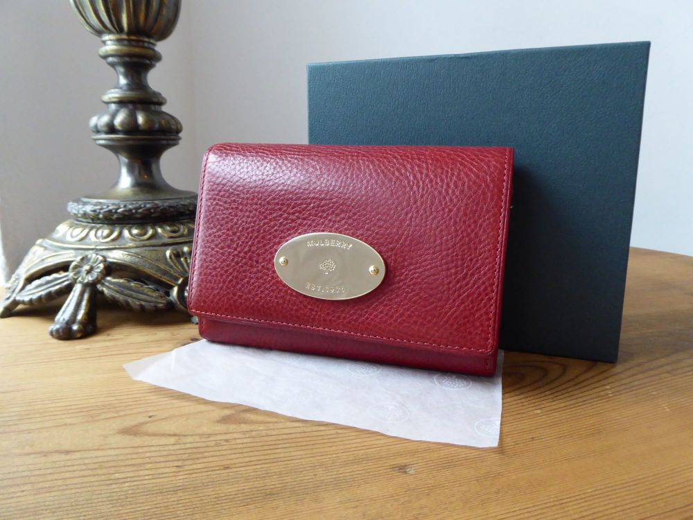 Mulberry Plaque French Compact Flap Wallet Purse in Poppy Red Vegetable Tan