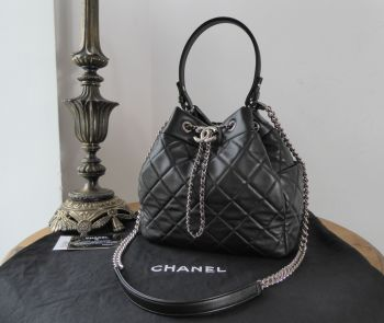 Chanel Drawstring Bucket Bag in Black Classic Quilted Lambskin with Shiny Silver Hardware