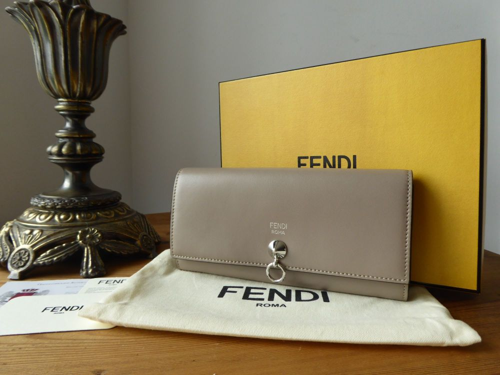 Fendi By The Way Continental Wallet in Smooth Grey Calfskin