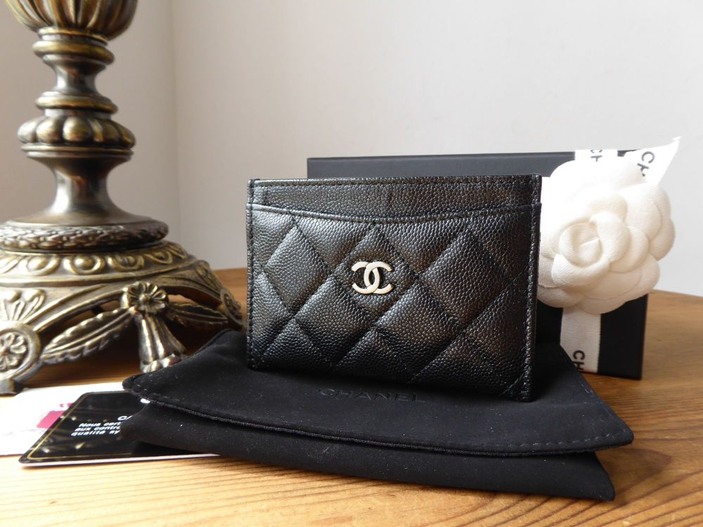 Chanel Classic Quilted Card Slip Holder in Black Iridescent Caviar with Shi