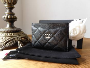 Chanel Classic Quilted Card Slip Holder in Black Iridescent Caviar with Shiny Dark Silver Hardware