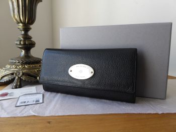 Mulberry Plaque Continental Long Flap Wallet Purse in Black Glossy Goat - SOLD