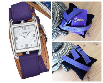 Hermès Cape Cod Double Tour Watch Strap PM in Ultra Violet Purple Calfskin