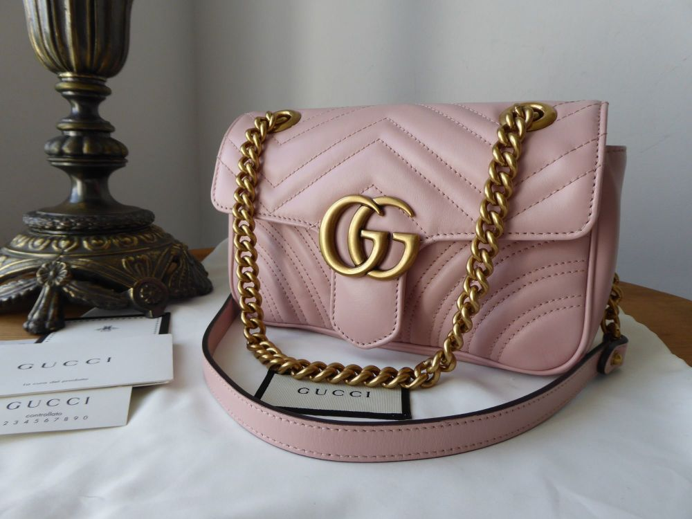 397b1ad94 Gucci GG Marmont Mini Flap in Light Pink Matelassé Quilted Calfskin ...