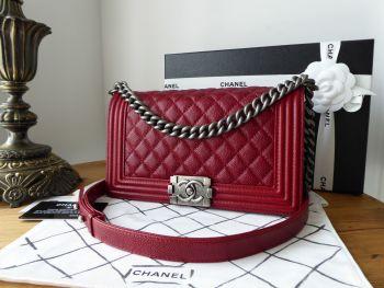 Chanel Boy Old Medium in Dark Red Caviar with Ruthenium Hardware