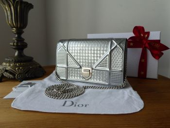 Dior Diorama Shoulder Clutch in Micro Cannage Argent Silver Patent Calfskin - SOLD