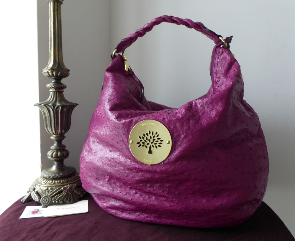Mulberry Large Daria Hobo in Cerise Pink Glossy Ostrich Leather - As New