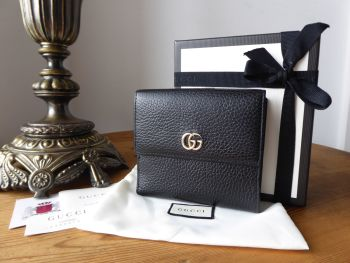 Gucci GG Marmont Compact Purse Wallet in Black Grained Calfskin - SOLD