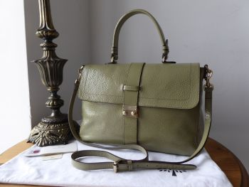 Mulberry Harriet Satchel in Summer Khaki Spongy Patent Leather - New*