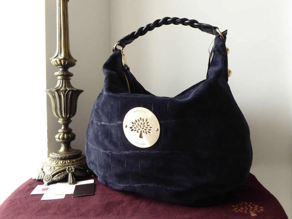 Mulberry Large Daria Hobo in Midnight Croc Printed Suede - New