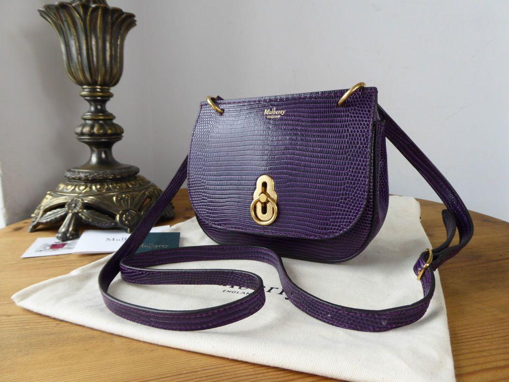 Mulberry Mini Amberley in Dark Violet Embossed Lizard Printed Leather - New
