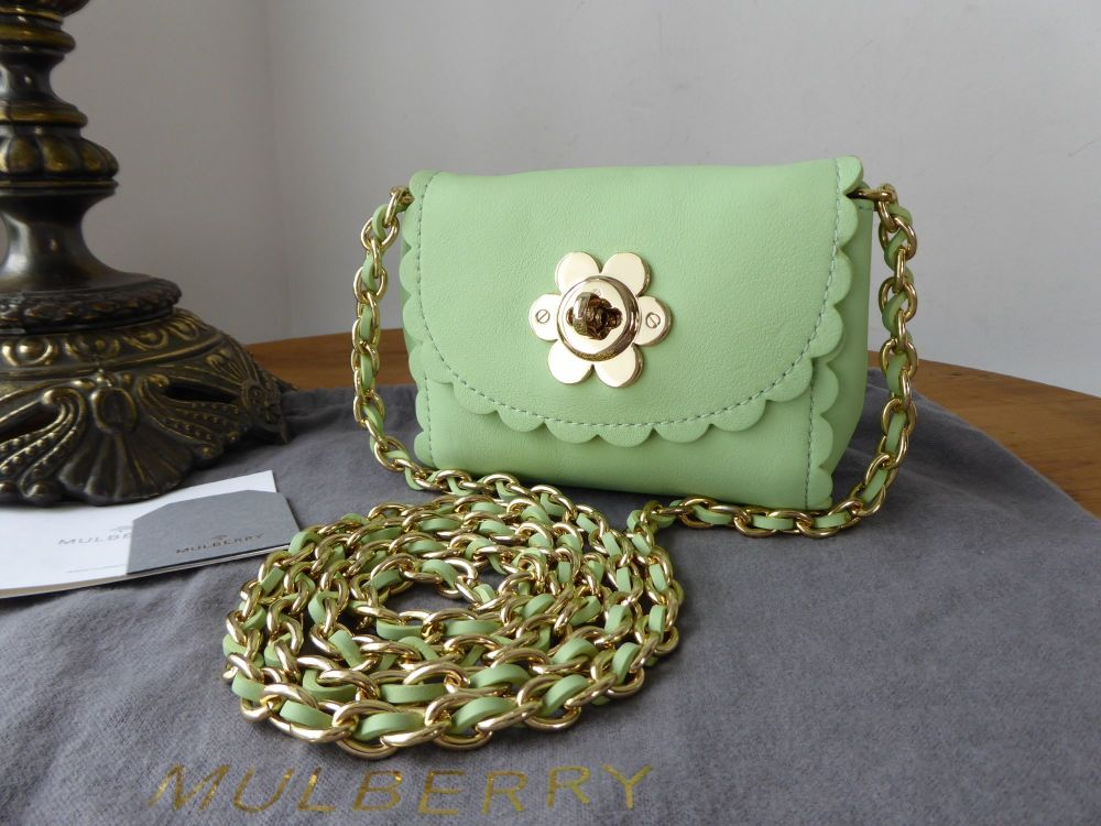 Mulberry Mini Cecily Flower Lock in Mint Green Classic Calf Leather