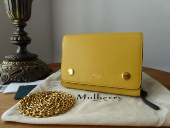 Mulberry Clifton Wallet on Chain Shoulder Clutch in Multicolour Sunflower, Crimson and Midnight Smooth Calf Leather - SOLD