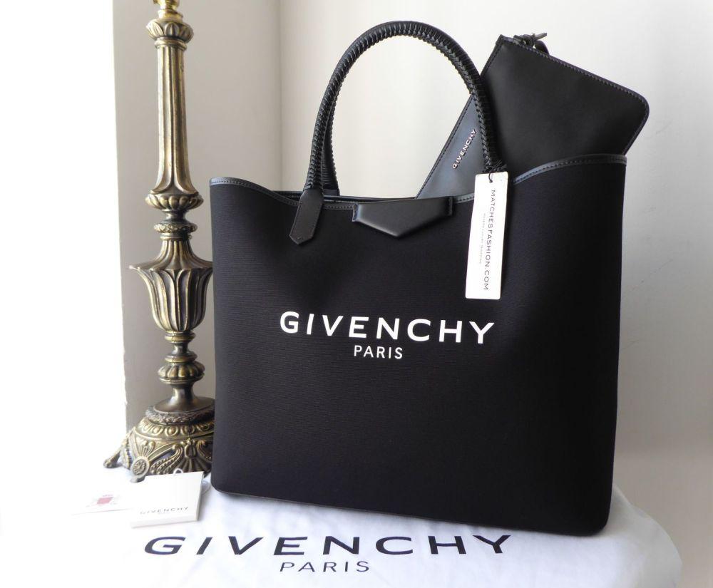 a932876ca6 Givenchy Large Logo Printed Antigona Shopping Tote in Black Canvas & Leathe