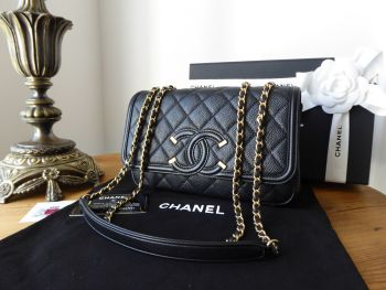 Chanel CC Filigree Small Flap Bag in Black Caviar with Brushed Gold Hardware - SOLD