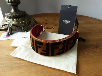 Fendi Mini Strap You in FF Velvet Zucca and Red Calfskin - New