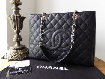 9a960d75c0ec15 Chanel Grand Shopping Tote GST in Black Caviar with Silver Hardware