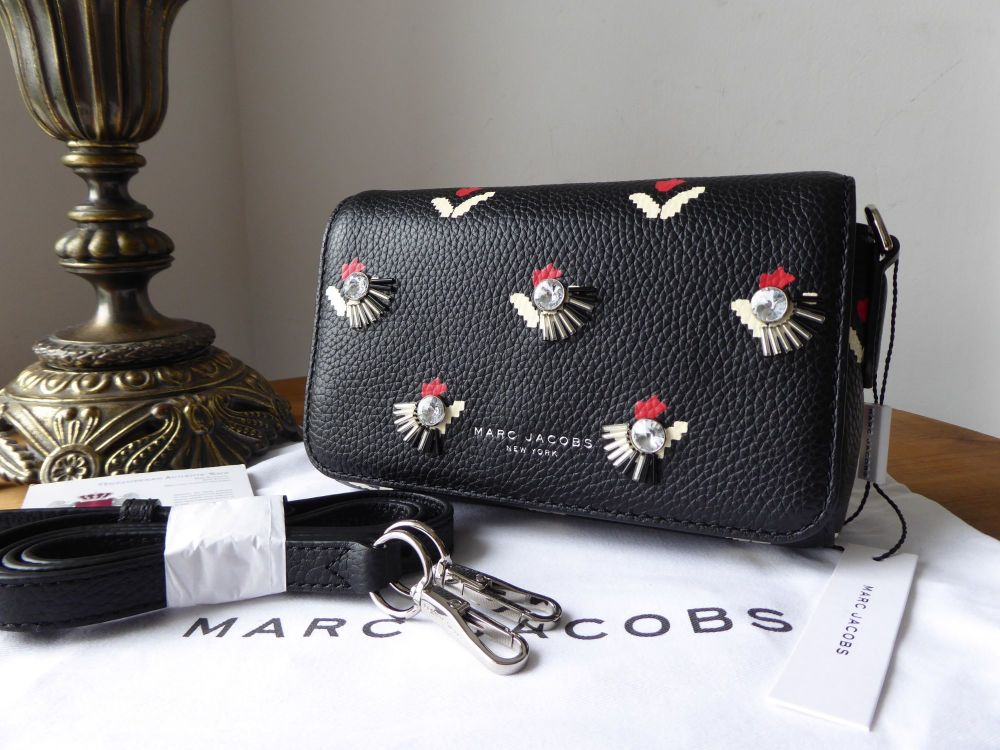 Marc Jacobs Tulip Collection Embellished Crossbody in Black Pebbled Leather