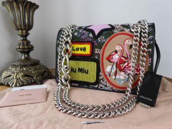 Miu Miu Tapestry Jacquard Floral Beaded Gobelin Beaded Medium Flap Bag - New
