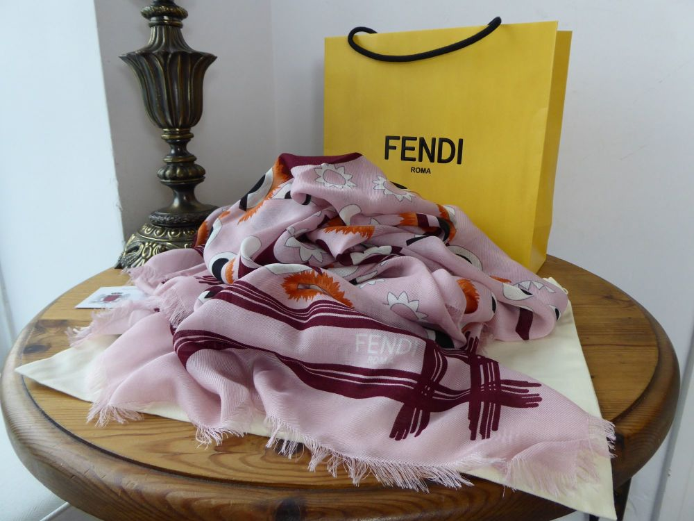 Fendi Monster Flowerland Shawl Scarf in Multicolore Pink Silk Wool Mix - Ne