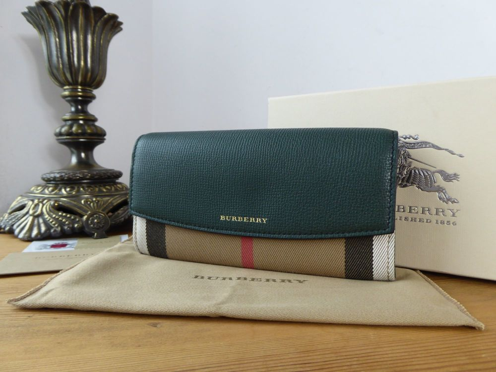 Burberry Porter Continental Flap Wallet in House Check & Dark Bottle Green